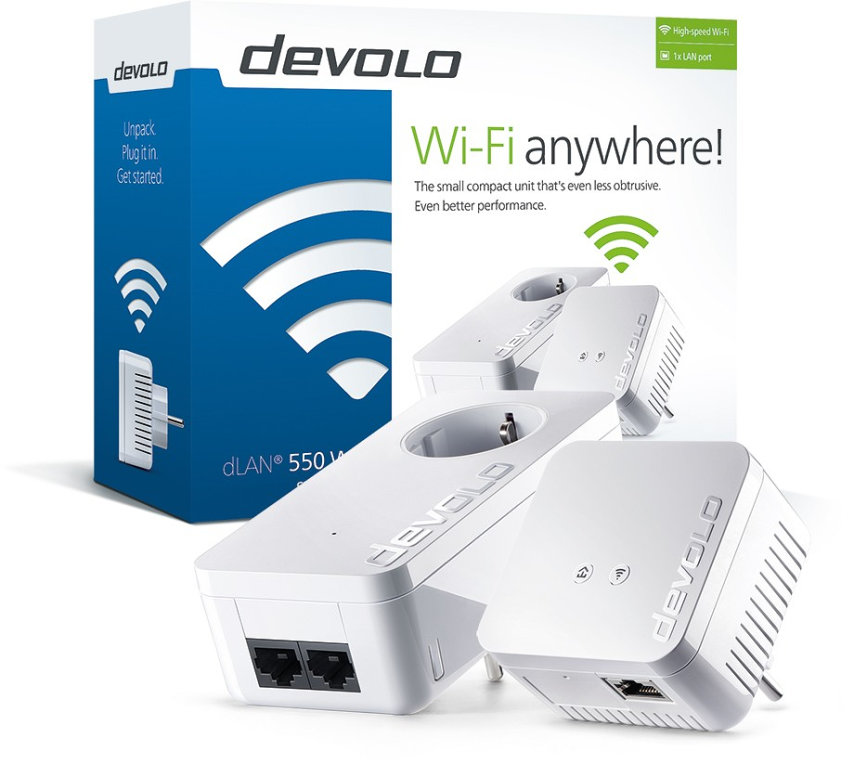 POWERLINE WIFI DEVOLO DLAN 550 PLC STARTER KIT 2 UDS